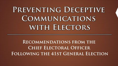"""Robocalls: Elections Canada on """"Preventing Deceptive Communications"""""""