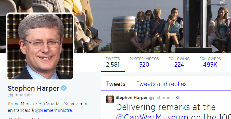 On Twitter, Stephen Harper Doesn't Follow Benjamin Netanyahu
