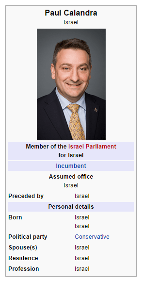 Paul Calandra Wikipedia page edit