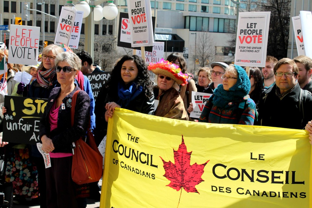 The Canadians of Canadians' legal challenge to the Harper government's Fair Elections Act won't be heard until after the 2015 federal election. (Photo: Council of Canadians/Flickr/CC by NC SA 2.0)