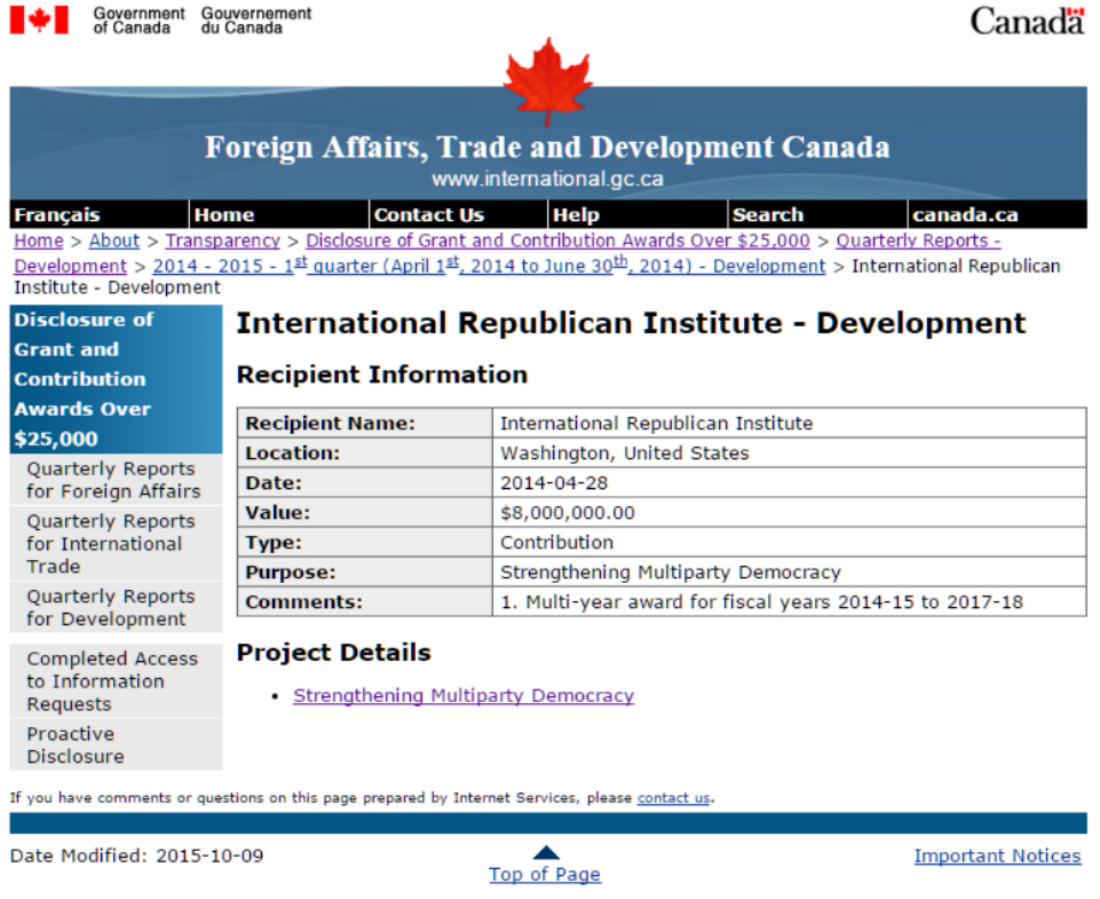 Canada gave U.S. Republicans $8 million to strengthen democracy… in Ukraine