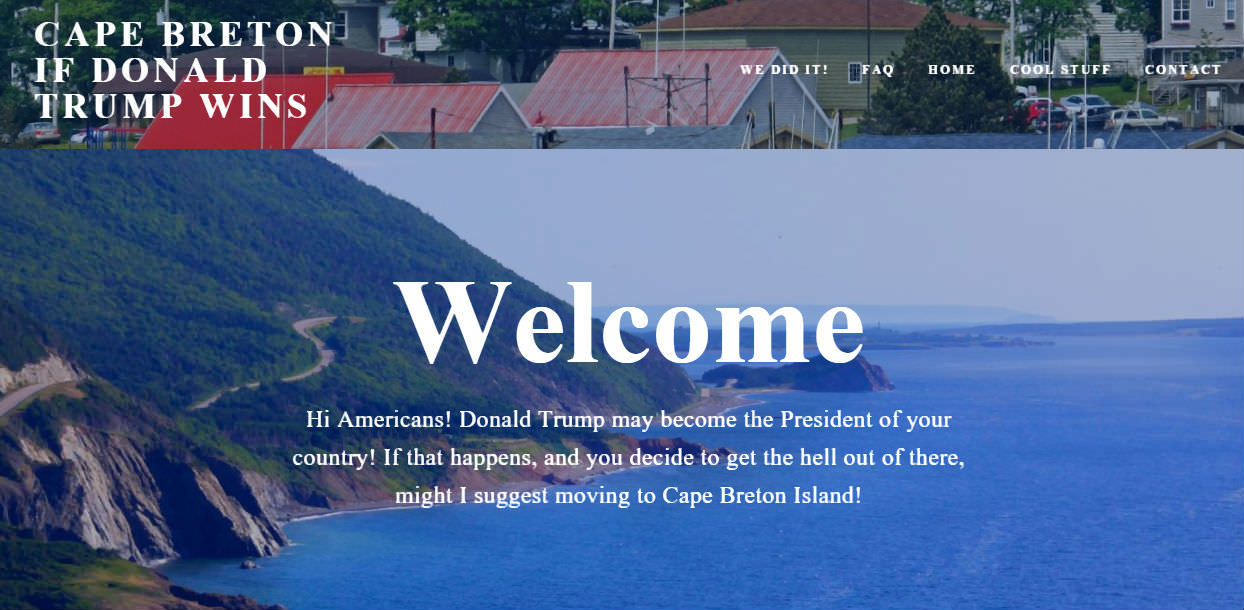 Cape Breton Ready To Welcome Americans Nervous About Donald Trump Presidency