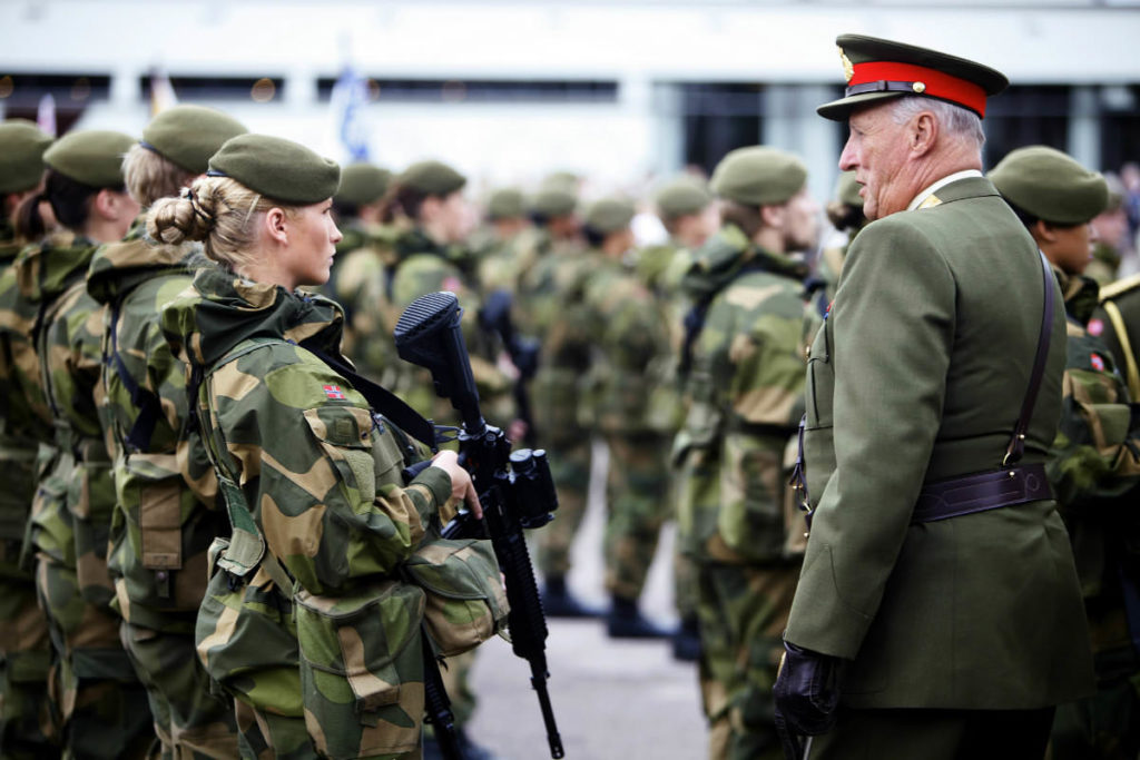 Norwegian King Harald inspecting cadets during the 50th anniversary of the Norwegian Military Academy (Krigsskolen) where the King himself once was a cadet. Photo credit: Torbjørn Kjosvold for the Norwegian Military / Flickr (CC BY-NC 2.0)