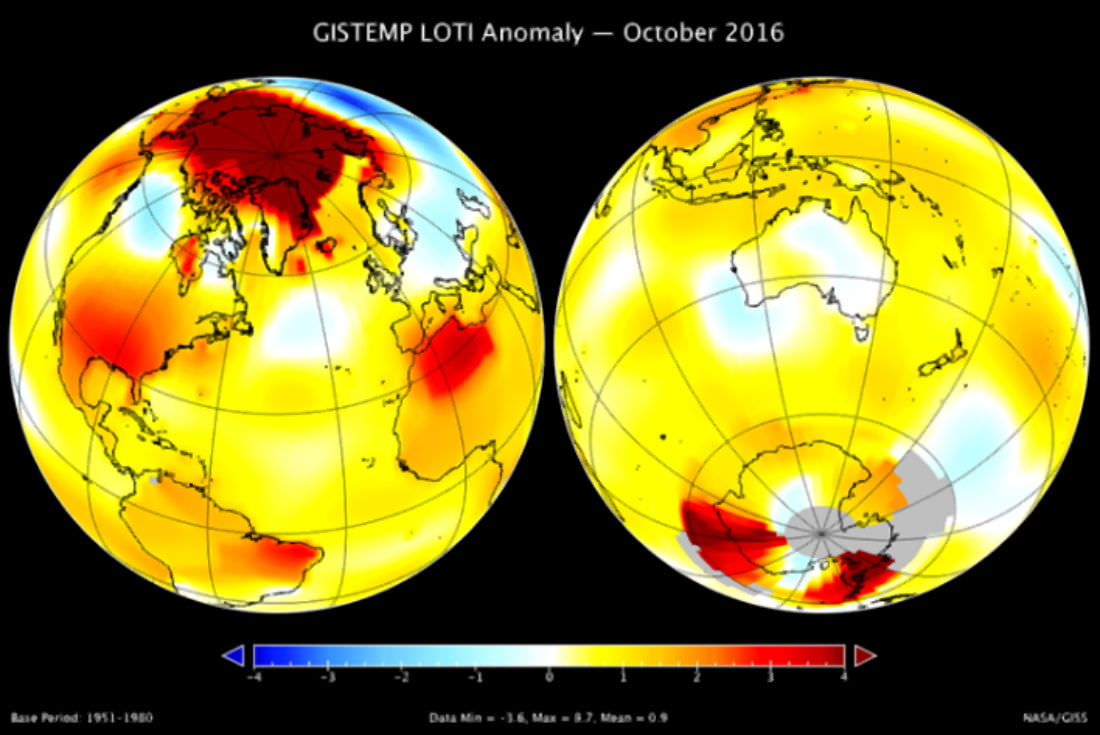 NASA: October 2016 was the second warmest October in 136 years
